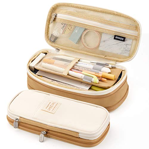 EASTHILL Big Capacity Pencil Pen Case Office College School Large Storage High Capacity Bag Pouch Holder Box Organizer Khaki