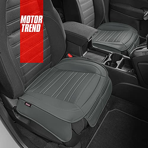 Motor Trend Gray Faux Leather Car Seat Covers for Front Seats, 2-Pack – Universal Padded Car Seat Cushions with Storage Pockets, Premium Interior Accessories for Auto Truck Van SUV