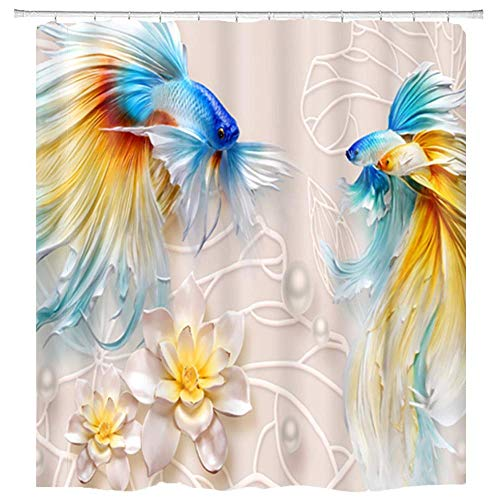 hipaopao Goldfish Lotus Flowers Shower Curtain Koi Fish Leaf 3D Printed Fabric Shower Curtain Sets Bathroom Decor with Hooks Waterproof Washable 72 x 72 inches Yellow Blue Red