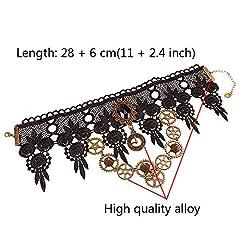 Daimay Choker Lace Necklace Punk Party Gothic Vintage Handmade Lolita Retro Gear Flower Bride Choker for Women – Black Y484 #2