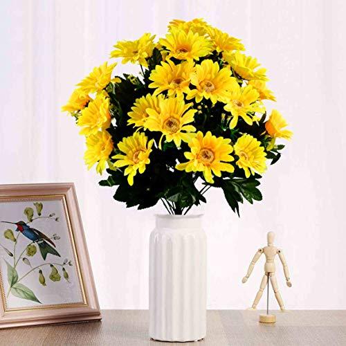 Herran Margaritas Artificiales Ramo Decorativo Decoración de Mesa Decoración Floral Decoración de Oficina Blanco Amarillo Naranja Púrpura 30 Flores