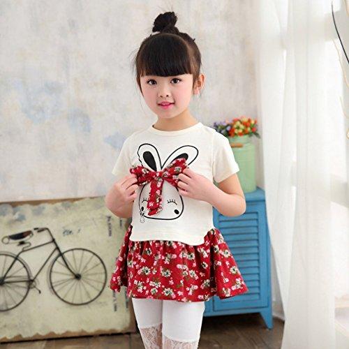 Gugutogo Karikatur-Kaninchen-Druck-kleine Mädchen-Prinzessin Dress Nette reizende Blumen-Kinder-Kleid (Farbe: weinrot) (Größe: 140)