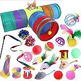 Ysislybin Juego de juguetes para gatos con túnel para gatos, 21 piezas de juguete interactivo para gatos, con pluma, túnel, teaser Rod y otros juguetes