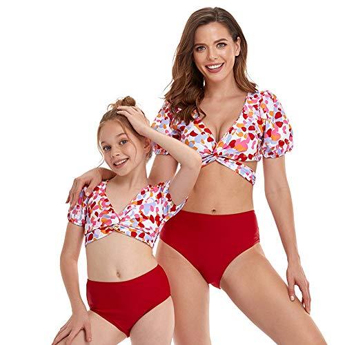 Bonfor Bikini Niña 2-12 años & Bikinis Mujer 2021 Brasileños Braga Alta Leopardo Marca - Ropa de Baño Madre e Hija, Tajes de Baño 2 Piezas (Rojo, 10-12 años)