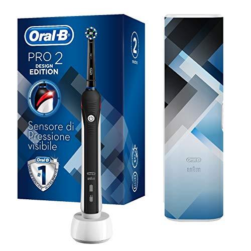 Oral-B Pro 2 2500 Design Edition Spazzolino Elettrico Ricaricabile, 2 Modalità di Spazzolamento, Custodia da Viaggio, Nero