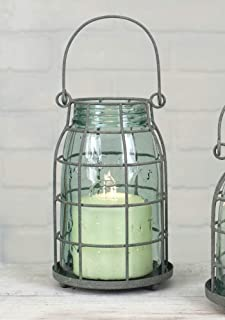 Attractive and Graceful Quart Mason Jar Candle Cage - Metal Lantern Candle Holder with Clear Glass, Rustic Indoor/Outdoor Light for Your Home Decor - Modern Rustic Vintage Farmhouse Style