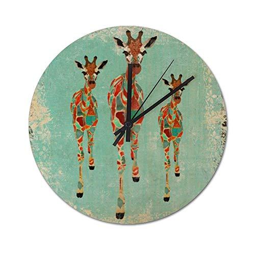 Reloj de Pared Decorativo, Estilo rústico Industrial Vintage, decoración del hogar para Sala de Estar, Relojes Vintage de PVC con Jirafa de Color Azul Cielo y ámbar, Redondo de 25 cm
