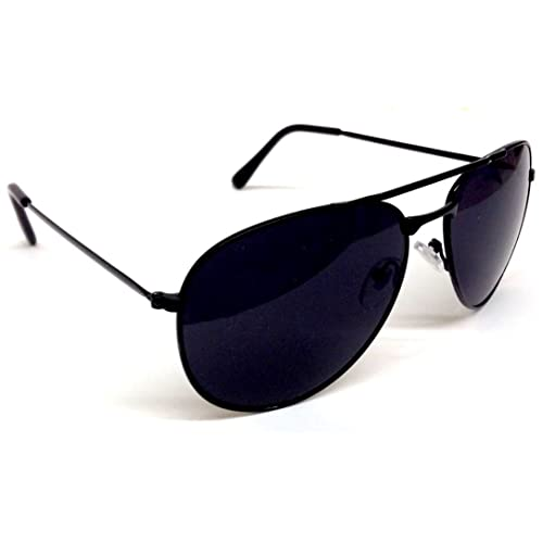 00ad2c9343 Black   Gold Pilot Aviator Sunglasses