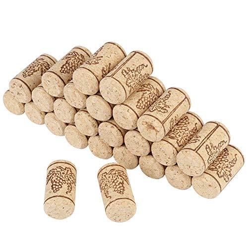Nikou Tappi per Vino 100Pcs - Sughero di Legno Bottiglie di Vino Sughero per Tappi di Sughero Naturale Sughero per Tappi di Vino in Legno 22 * 44mm