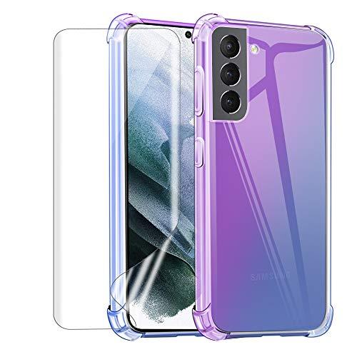Reshias Funda para Samsung S21 Plus con Uno [Cobertura Completa] Protector de Pantalla, Coloré Suave TPU Gel Silicona Anti-caída Protectora Carcasa para Samsung Galaxy S21 Plus 5G (6,7 Pulgadas)