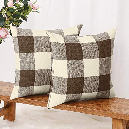 LSIENPF Juego de 2 fundas de cojín de lino y algodón, para sofá o dormitorio, con cremallera invisible (45 cm x 45 cm), diseño de cuadros, color marrón y blanco