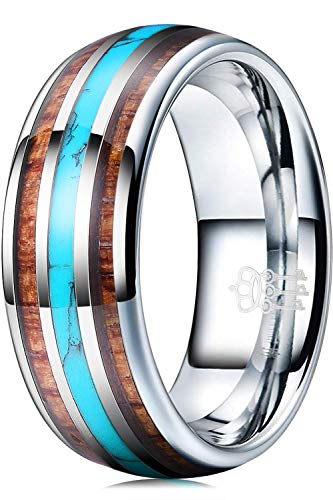 THREE KEYS JEWELRY Men Wedding Wooden Bands 8mm Tungsten Viking Carbide Turquoise Ring with KOA Wood Inlay Polished Infinity Unique for Him Silver Size 11