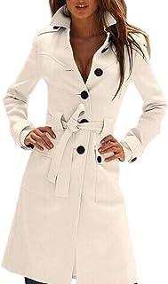 Women Basic Single Breasted Mid-Long Wool Blend Pea Coat Outwears