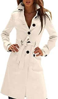 Women Winter Single Breasted Lapel Collar Button Pea Coat Trench Coat
