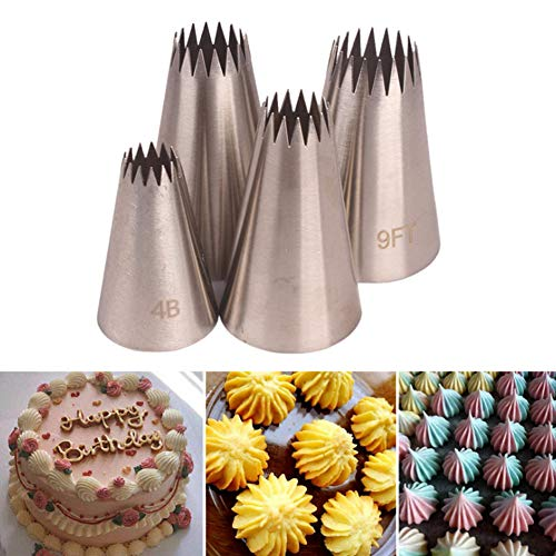 Large Cake Decorating Piping Tips, 4 Pack Stainless Steel Piping Nozzle Cake Decorating Pastry Tips Tool