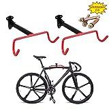 PHUNAYA Bike Hanger Wall Mount Bike Hook Horizontal Foldable Bicycle Holder Garage Bike Storage Bicycle Hoist Heavy Duty Screws (2 Pack)