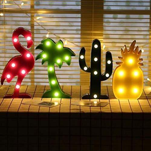 Creativo LED Luz de Noche Decoración de Navidad Lámparas de Flamingo Árbol Piña Cactus Forma de Luz LED de la Decoración de la Habitación de la Lámpara de accesorios