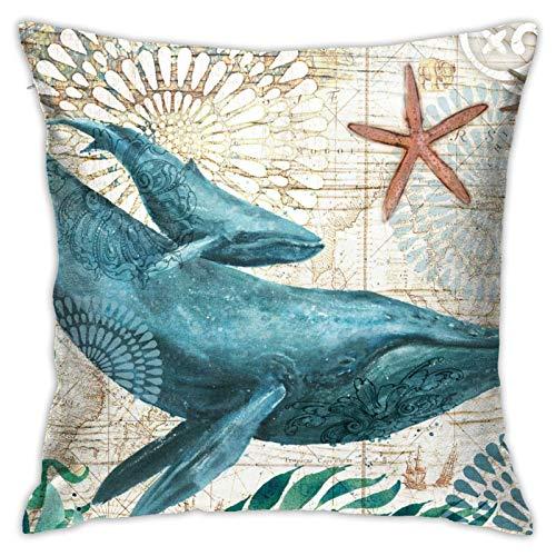 ETHAICO Fundas de almohada, estilo mediterráneo, diseño de ballena, fundas de almohada decorativas con estampado de flores (45,7 x 45,7 cm)