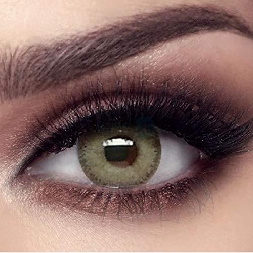 """natürliche stark deckende farbige Kontaktlinsen grüne Farblinsen """"Gray Olive"""" von BELLA Markenlinsen hochwertige Qualität - inklusive deutscher Anleitung - ohne Dioptrien Stärke - 1 Paar (2 Stück)"""
