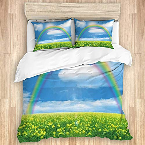 HATESAH 3 Pcs Duvet Cover,Spring Rainbow Rustic Cauliflower Field Natural Scenery Rural Blossom Rape Flowers Blue Sky Clouds,with 1 Duvet Cover and 2 Pillowcases,for Dormitory,Hotel,Home(Queen Size)