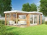 Alpholz 5-Eck Gartenhaus Pepe Optima aus Holz Gartenhaus mit 40 mm Wandstärke Holzhaus Blockbohlenhaus Flachdach