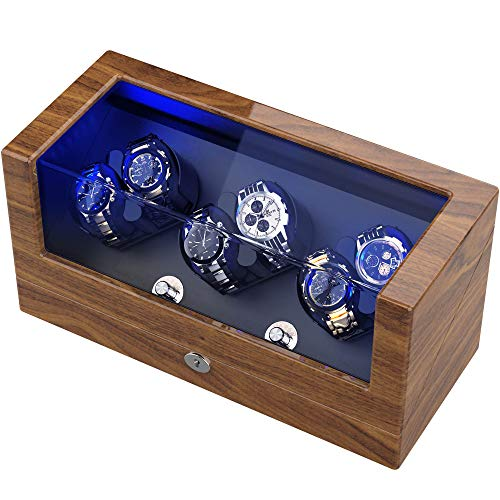TRIPLE TREE Watch Winder, for Rolex Automatic Watches with Soft and Flexible Watch Pillows, Wooden Shell, Powered by Japanese Motor, with Built-in Blue LED Illuminated, USB Cable ( Wood Pattern)