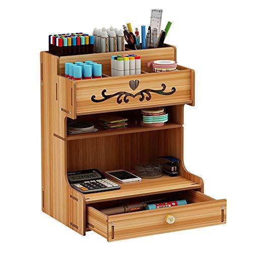 Organizador de escritorio de madera de gran capacidad, con cajón, estantería y organizador de bolígrafos, para el hogar, la oficina y el colegio, color Madera de cerezo.