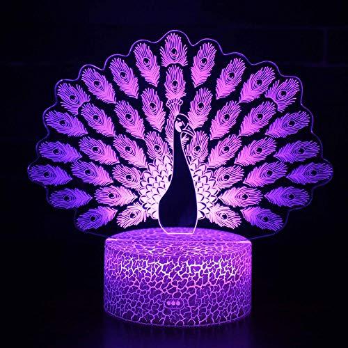 Lámpara de Noche de Ilusión óptica 3D LED de la carga USB del efecto creativo de la ilusión 3D con 7 colores Pantalla abierta Peacock 2 Cracked base