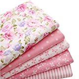 5pcs/lot 15.7'x19.7' Pink 100% Cotton Fabric for Sewing Quilting Patchwork Tissue