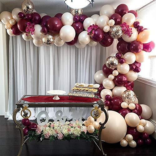 GIHOO Burgundy Balloon Garland Kit, 117pcs 5/12inch Burgundy Balloons Blush Balloons Gold Confetti Balloons with 16ft Garland Strip for Wedding Bachelorette Birthday Decoration (Burgundy)