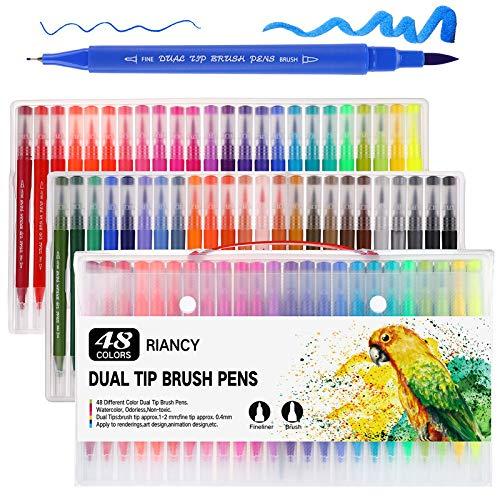 Mehrfarbiger Doppelkopfpinsel mit dünner Strichspitze 0.4, Doppelkopf-Notizbuch-Tinte auf Wasserbasis zum Selbermalen, Zeichnen, Malen, Malen, Manga-Modedesign (schwarz) 48St