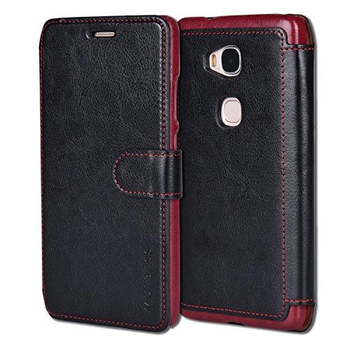 Mulbess Handyhülle für Huawei Honor 5X Hülle Leder, Honor 5X Handytasche, Layered Flip Schutzhülle für Huawei Honor 5X Case, Schwarz