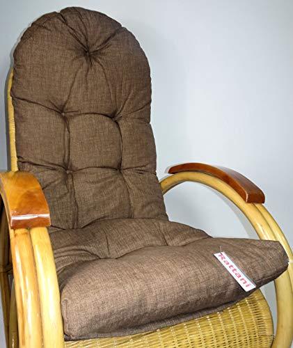 Rattani Auflage/Polster für Schaukelstuhl, Liegestuhl, Ersatzpolster Gr. 130 x 50 x 12 cm, Nuevo Loneta Brown - Made in EU