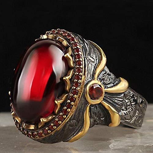 KEJI Anillo de tótem vintage de dos tonos, gran ovalado de piedra roja, anillo de arco para hombres y mujeres, fiesta gótica, aniversario, regalo de joyería retro