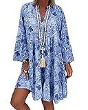 ORANDESIGNE Mujer Vestido Bohemio Corto Florales Nacional Verano Vestido Casual Manga Larga Chic de Noche Playa Vacaciones A Azul Claro 48