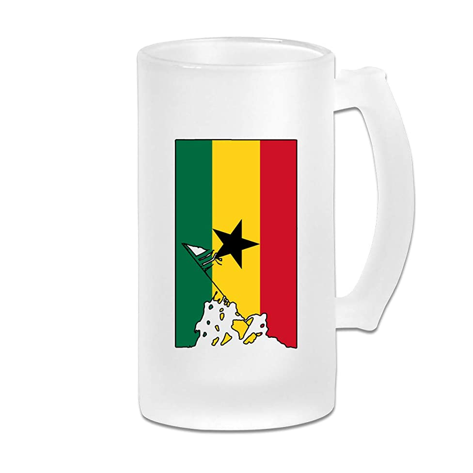 Ghana Flag Veteran Military Army Wine Glasses Cup Tumbler With Handle, 16 OZ / 500 ML Large Pub Beer Glass For Freezer