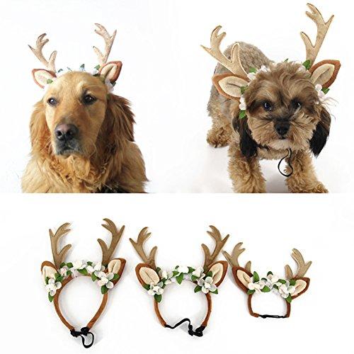 Terzsl Haarband für Hunde und Katzen, Weihnachtsdesign, Rentiergeweih mit Blumen, Größe L, M