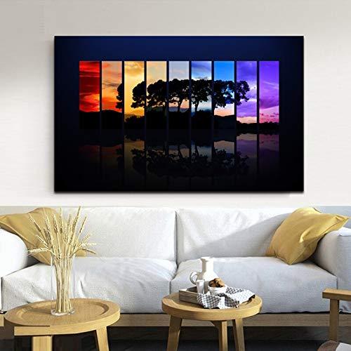 Poster Wandkunst Malerei Spektrum abstrakte Bunte Baum Wald Wand Bild auf Leinwand für Wohnzimmer Home Dekoration rahmenlose Malerei 50cmx87cm