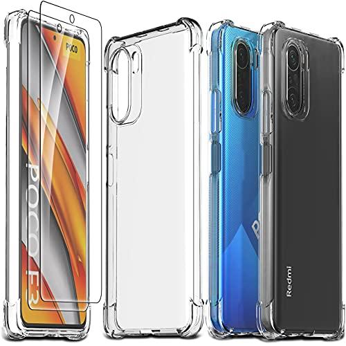 Ferilinso Funda para Xiaomi Poco F3 + 2 Piezas Cristal Templado Protector de Pantalla [Transparente TPU Carcasa] [10X Anti-Amarilleo] [Anti-Choque] [Anti-arañazos] [9H Dureza]