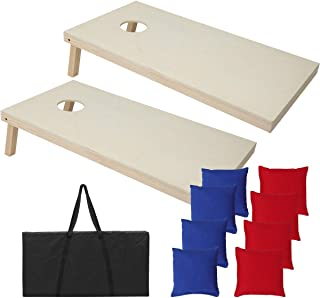 Selva 4x2FT Pine Wooden Cornhole Bean Bag Toss Game Set   Durable Sturdy Heavy Duty Foldable Legs Portable Suitable For Home Outdoor Lawn Garden Patio Party Park Camping Wedding Social Events Backyard