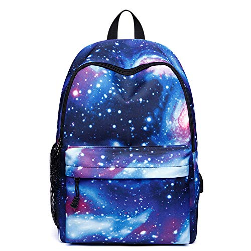 Unisex Backpack Galaxy School Backpack Canvas-rugzak Laptop-tas Satchel Wandelzak, Blue