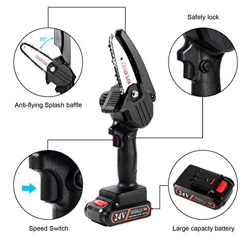 2021 Upgraded Mini Chainsaw With 2 Batteries 2 Chain, 4-Inch Cordless Mini Chainsaw Battery Powered with Safety Lock , One-Hand Use 1.5lb Portable, Handheld Small Mini Electric Chainsaw (black)
