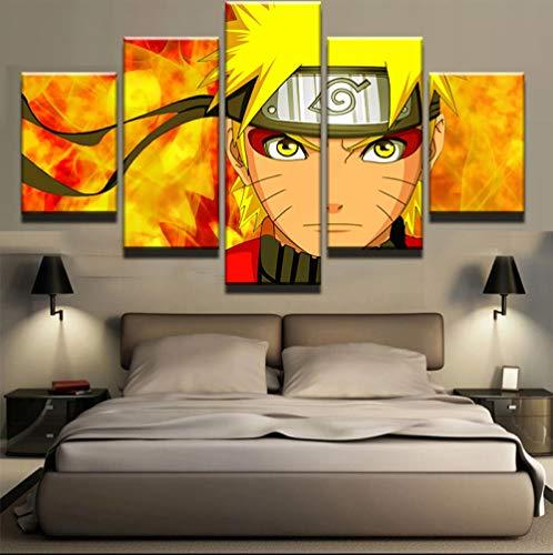 LQHQT Impresiones sobre Lienzo,5 Piezas Animación Naruto Poster Habitación Moderna para Niños Pinturas Decorativas De Pared Obra De Arte De Pared (Sin Marco) 30 * 40Cm * 2 30 * 60Cm * 2 30 * 80Cm