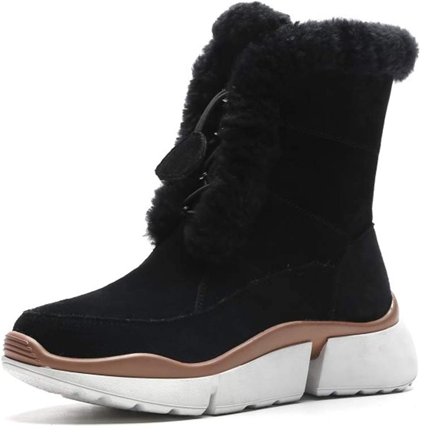 Women's Boots Suede Winter Non-Slip Snow Boots Flat with Platform shoes Warm Booties Outdoor Casual Walking shoes Black Pink (color   Black, Size   40)