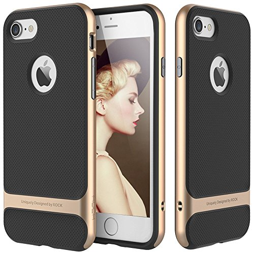 iPhone7 Case,By Jabit ROCK [Royce] - [Screen Touch Pen][Glass Screen Protector][Ultra Thin][Heavy Duty][Dual Layered][Slim Fit][Hard PC + Soft TPU][Gold]