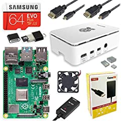 Includes Raspberry Pi 4 4GB Model B with 1.5GHz 64-bit quad-core ARMv8 CPU (4GB RAM) 64GB Samsung EVO+ Micro SD Card (Class 10) Pre-loaded with NOOBS, USB MicroSD Card Reader CanaKit Premium High-Gloss Raspberry Pi 4 Case with Integrated Fan Mount, C...