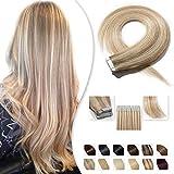 20 Pcs Extension Adhesive Naturel Rajout Vrai Cheveux Humain Bande Adhesive Lisse (#18+613 Sable blond Méché Blond très clair, 14'(35cm))