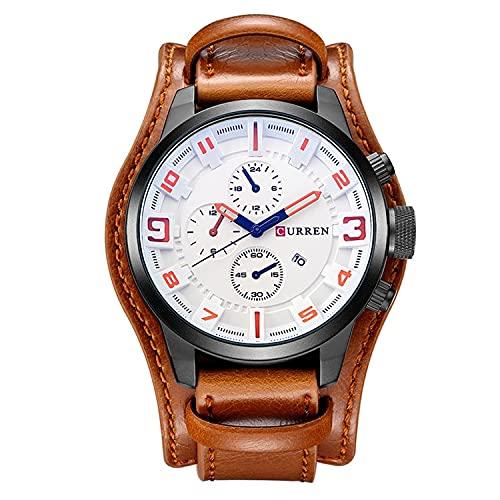 Legxaomi Reloj de los hombres, marca de lujo superior impermeable reloj deportivo, cronógrafo cuarzo militar cuero genuino reloj de los hombres, el mejor regalo de los hombres blanco