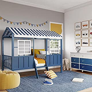 Little Seeds Rowan Valley Forest Loft, Twin Size Frame, White/Blue Bed (B08Q2YKMSW) | Amazon price tracker / tracking, Amazon price history charts, Amazon price watches, Amazon price drop alerts
