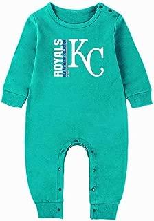 Littlearth Kansas City Royals Baby Jumpsuit Baseball Team Logo Newborn Baby Boys Girls Toddler One-Piece Romper Long Sleeve Jumpsuit Bodysuit Clothes for 3-15 Month
